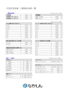 中栄信用金庫 主要商品金利一覧