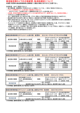 格安航空券タイプの日程変更・取消料規定について