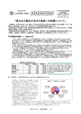 「東日本大震災が及ぼす経営への影響について」