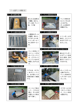 ドーム型テントの張り方 1 使う道具を運ぶ 配られる道具は 3種類。左から