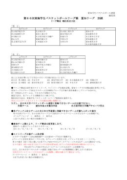 第86回東海学生バスケットボールリーグ戦 愛知リーグ 別紙