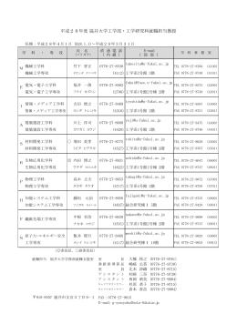 平成27年度 福井大学工学部・工学研究科就職担当教授