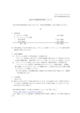 2016年度採用計画について [PDF/12KB]