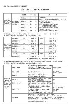 グループホーム 穂の香 利用料金表