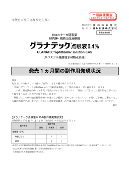 グラナテック点眼液0.4% 発売1ヵ月間の副作用発現状況