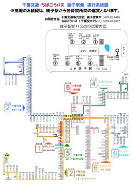 千葉交通・ちばこうバス 銚子駅発 運行系統図 ※掲載のお値段は、銚子