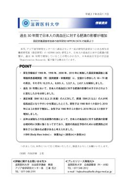 過去 30 年間で日本人の高血圧に対する肥満の影響が