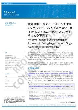 意見募集:日本のラージローンおよび シングルアセット/シングルボロワー型