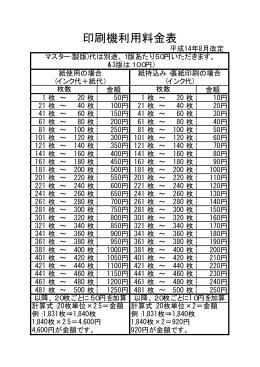 詳しくは印刷機利用料金表をご覧ください