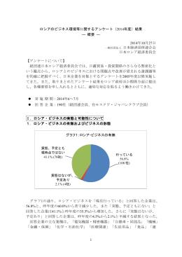 ロシアのビジネス環境等に関するアンケート(2014年度)