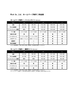 Wish Co.,Ltd. ホームページ制作 料金表