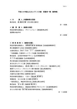平成26年度ふるさとづくり大賞 受賞者一覧(敬称略) < 大 賞 >(内閣