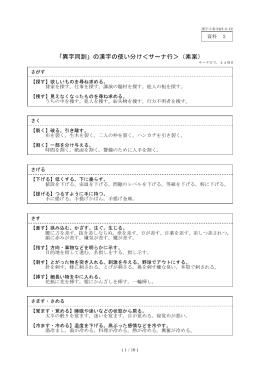「異字同訓」の漢字の使い分け<サ~ナ行>(素案)
