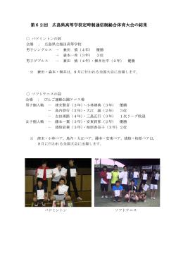 県総体の報告 - 広島県立東高等学校 通信制課程