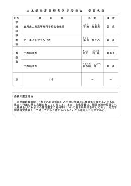 土 木 部 指 定 管 理 者 選 定 委 員 会 委 員 名 簿