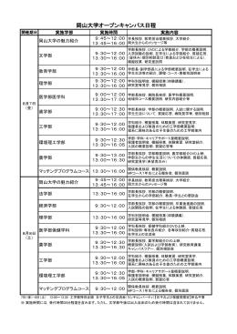 岡山大学オープンキャンパス日程