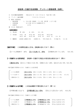 自転車一方通行社会実験 アンケート調査結果(抜粋)