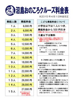 乗船人数 乗船料金 1人 6,000 円 小学生以下は1人につき、 乗船料金