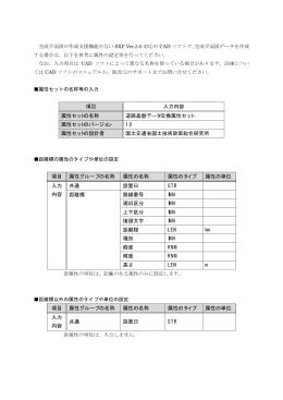 項目 入力内容 属性セットの名称 道路基盤データ交換属性セット 属性