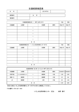 交通経路確認表 - 兵庫県立いえしま自然体験センタートップページ