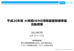 平成26年度 大規模HEMS情報基盤整備事業 活動概要