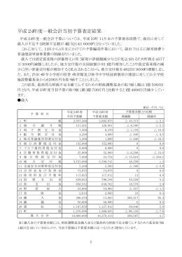 平成24年度一般会計当初予算査定結果