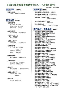 国立大学 (順不同) 専門学校・各種学校(順不同)