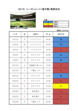 2015 シーズンシート(後半戦)残席状況