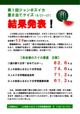 第1回ジャンボスイカ 重さ当てクイズ(8/21~27) 71.2kg