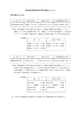 岡山県立高等学校の学科の廃止について