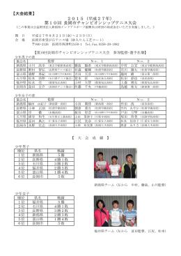 【大会結果】 2015(平成27年) 第10回 長岡市チャンピオンシップテニス