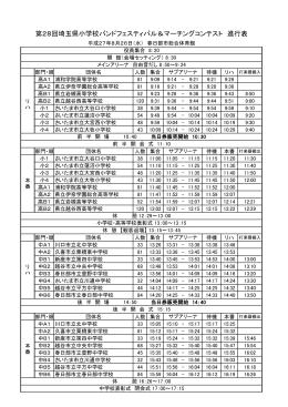 第28回埼玉県小学校バンドフェスティバル&マーチングコンテスト 進行表