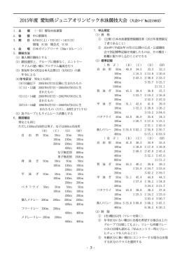 2015年度 愛知県ジュニアオリンピック水泳競技大会