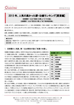 2013 年、人気の高かった駅・沿線ランキング[賃貸編]