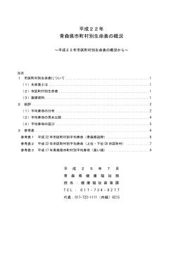 平成22年 青森県市町村別生命表の概況