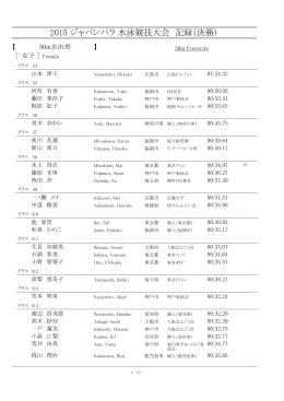 2015 ジャパンパラ 水泳競技大会 記録(決勝)