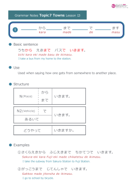 Use Structure Basic sentence Examples 1 うちから えきまで バスで