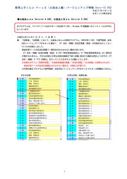 経理上手くんα ProⅡ(公益法人編)バージョンアップ情報 Vers