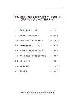 京都市移動支援事業単位数 請求サービスコード (平成26年4月サービス