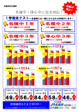 【成績UP続出!】庄内通校は名塚中・浄心中に完全対応!!