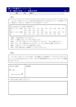 【第1学年数学ワークシート】 7章 資料の活用 1 度数分布表 No.1