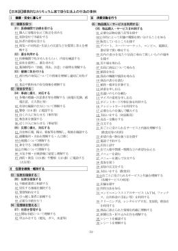 【日本語】標準的なカリキュラム案で扱う生活上の行為の事例