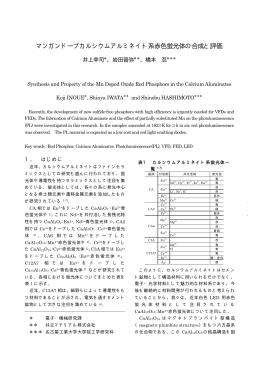 マンガンドープカルシウムアルミネイト系赤色蛍光体の合成と評価