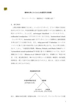 1 動物名称にみられる共感覚的音象徴 ブレント・バーリン(篠原和子・川原