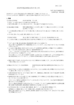 2010年食品回収公告のまとめ(PDF336KB)