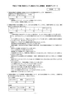 平成27年度 秋田カンバン娘おもてなし研修会 参加者アンケート
