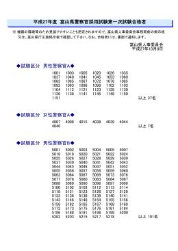 平成27年度第2回警察官採用試験第一次試験合格者(PDF