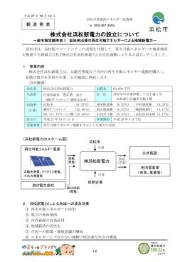 株式会社浜松新電力の設立について~政令指定都市初!自治体
