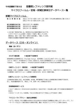 図書館レファレンス室所蔵 マイクロフィルム・官報・新聞記事