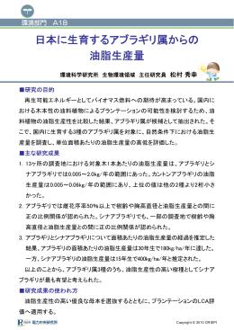 日本に生育するア 油脂生 アブラギリ属からの 生産量